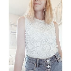CLUB MONACO White Floral Lace Sleeveless Tank XS
